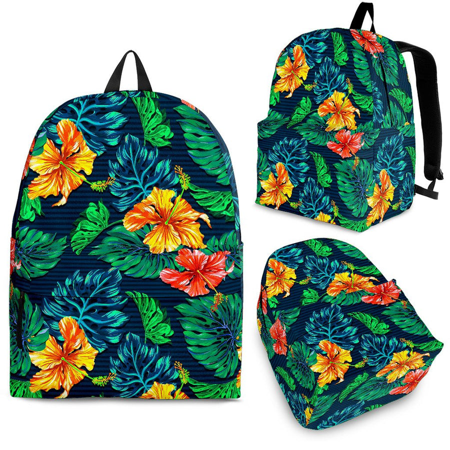 Hibiscus Monstera Hawaii Pattern Print Backpack GearFrost