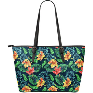 Hibiscus Monstera Hawaii Pattern Print Leather Tote Bag GearFrost