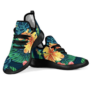 Hibiscus Monstera Hawaii Pattern Print Mesh Knit Shoes GearFrost