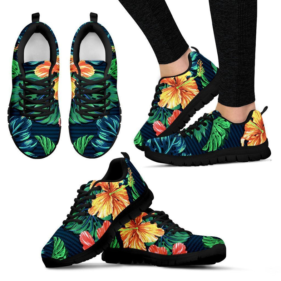 Hibiscus Monstera Hawaii Pattern Print Women's Sneakers GearFrost