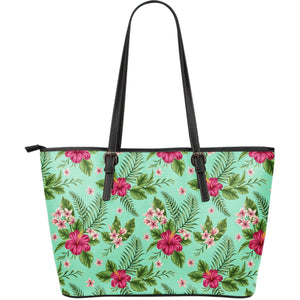 Hibiscus Plumeria Flowers Pattern Print Leather Tote Bag GearFrost