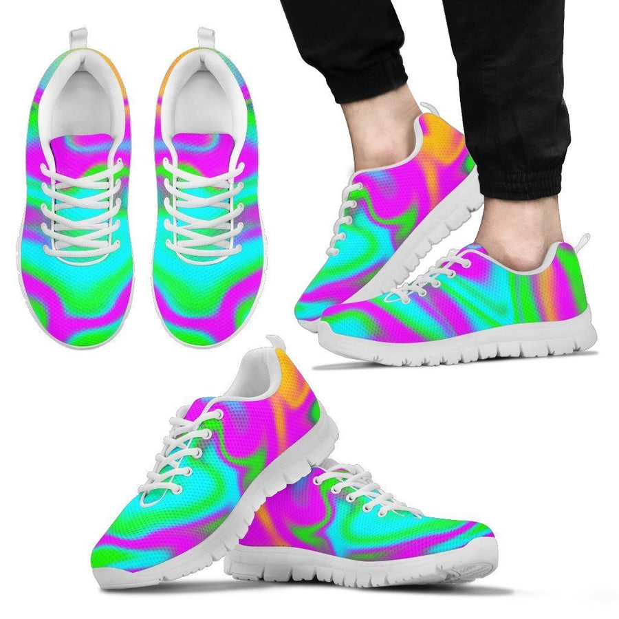 Holographic Neon Liquid Trippy Print Men's Sneakers GearFrost