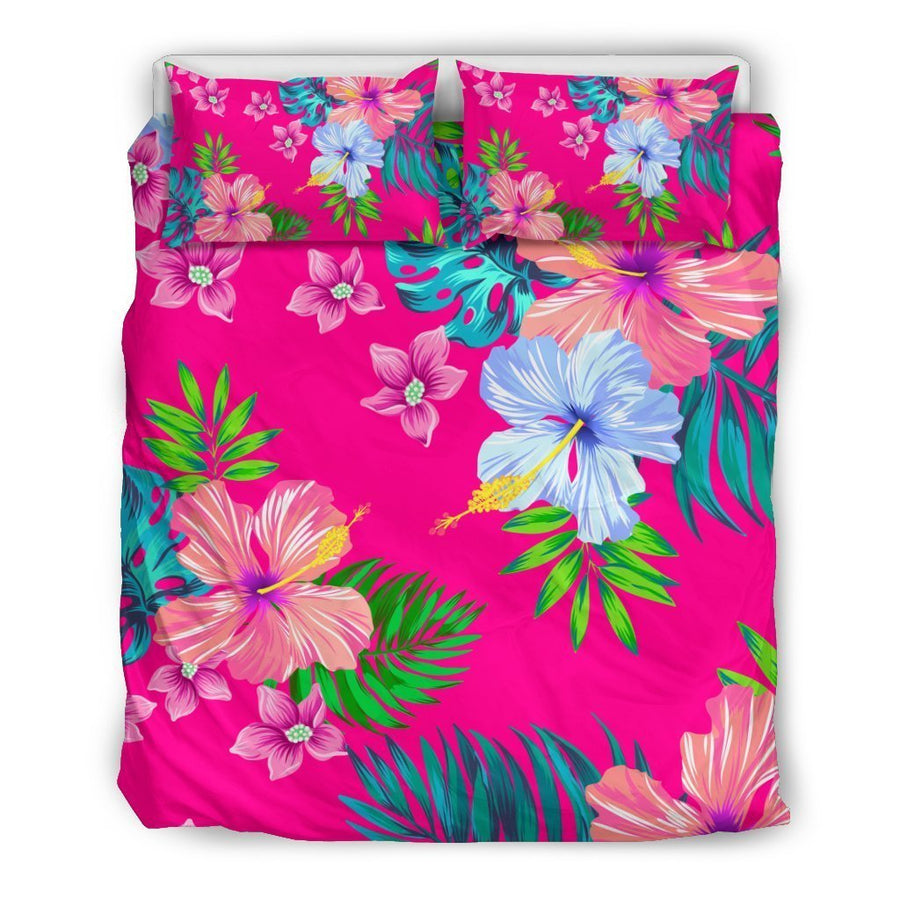 Hot Pink Aloha Hibiscus Pattern Print Duvet Cover Bedding Set GearFrost