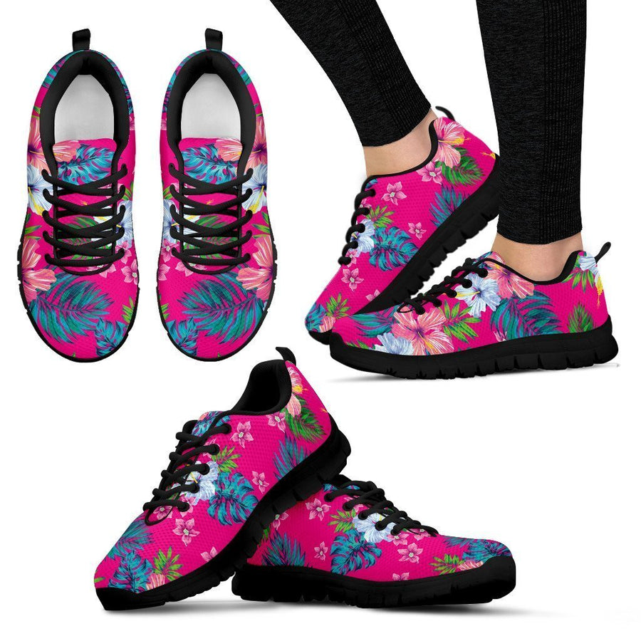 Hot Pink Aloha Hibiscus Pattern Print Women's Sneakers GearFrost