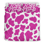 Hot Pink And White Cow Print Duvet Cover Bedding Set GearFrost