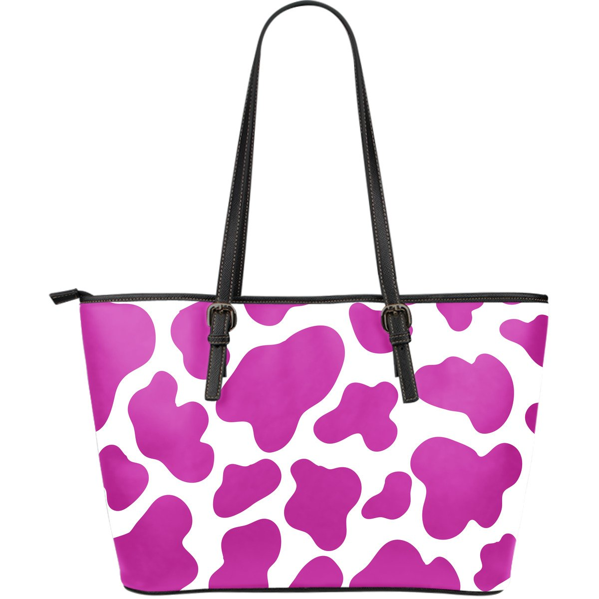 Hot Pink And White Cow Print Leather Tote Bag GearFrost