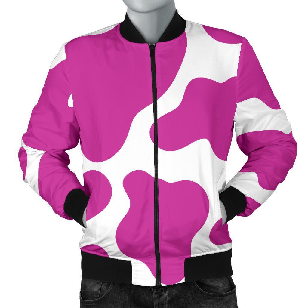 f70434457 Hot Pink And White Cow Print Men's Bomber Jacket