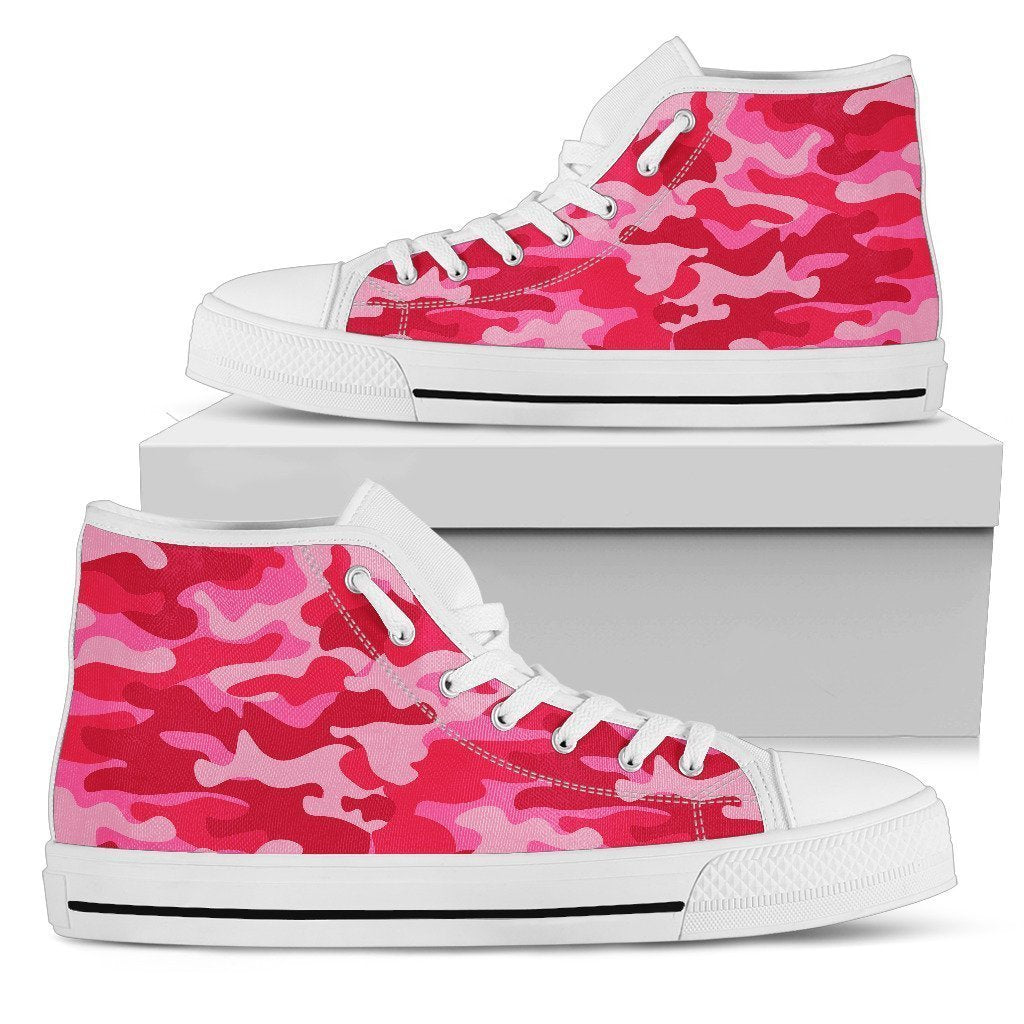 Hot Pink Camouflage Print Women's High Top Shoes GearFrost