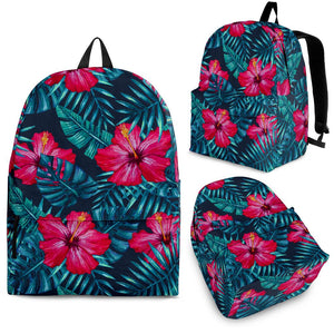 Hot Pink Hibiscus Tropical Pattern Print Backpack GearFrost
