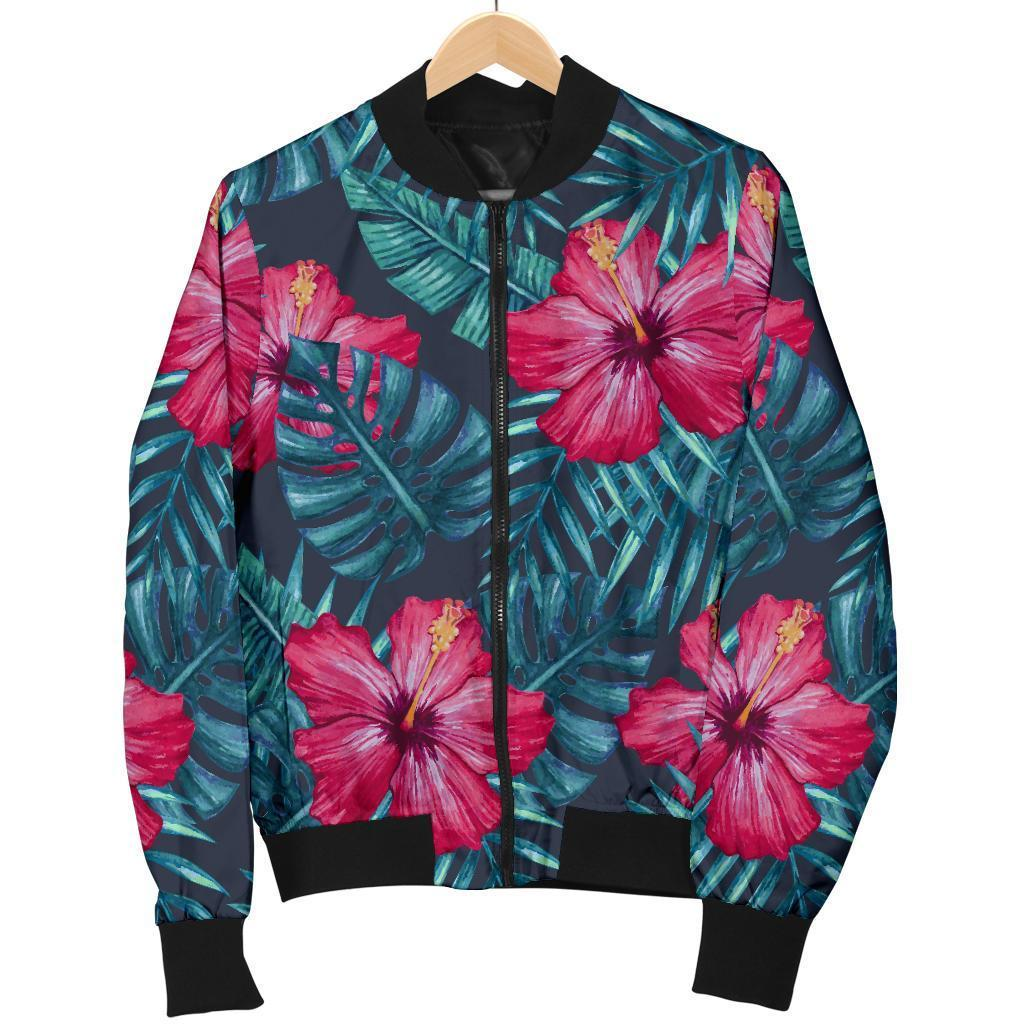 Hot Pink Hibiscus Tropical Pattern Print Men's Bomber Jacket GearFrost