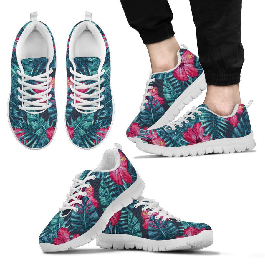 Hot Pink Hibiscus Tropical Pattern Print Men's Sneakers GearFrost