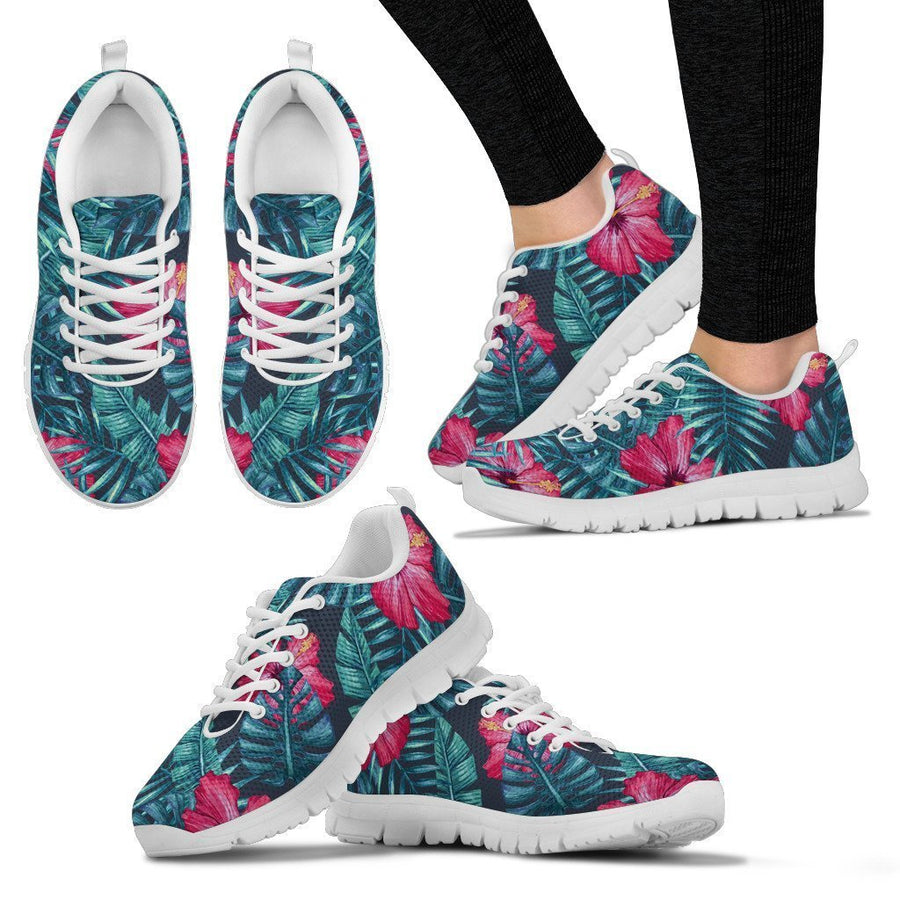 Hot Pink Hibiscus Tropical Pattern Print Women's Sneakers GearFrost