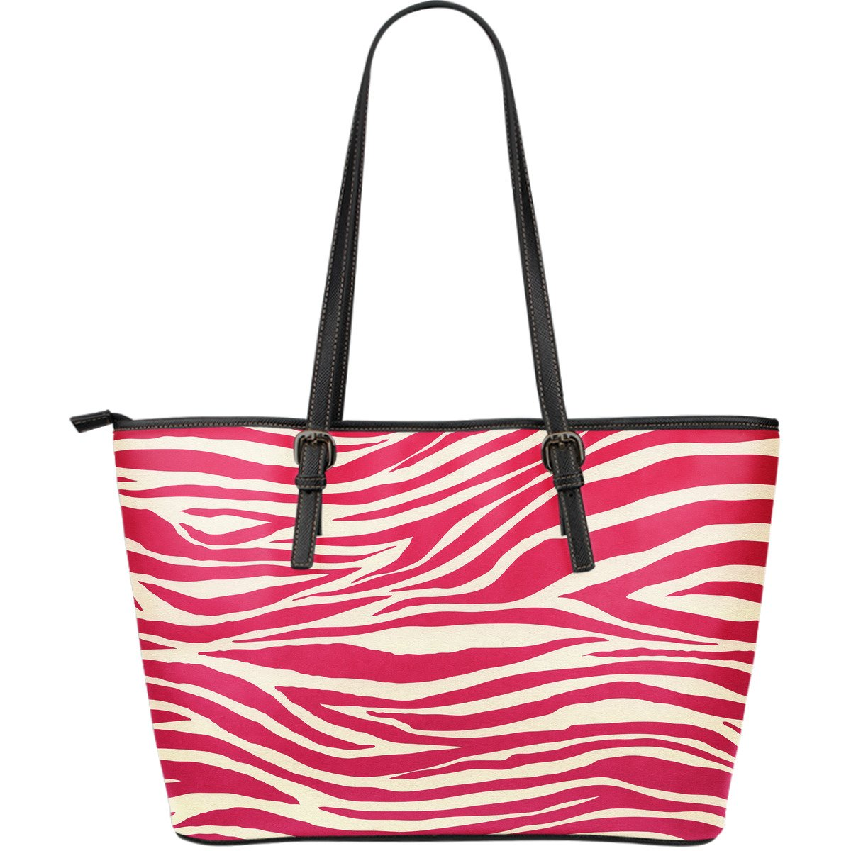 Hot Pink Zebra Pattern Print Leather Tote Bag GearFrost