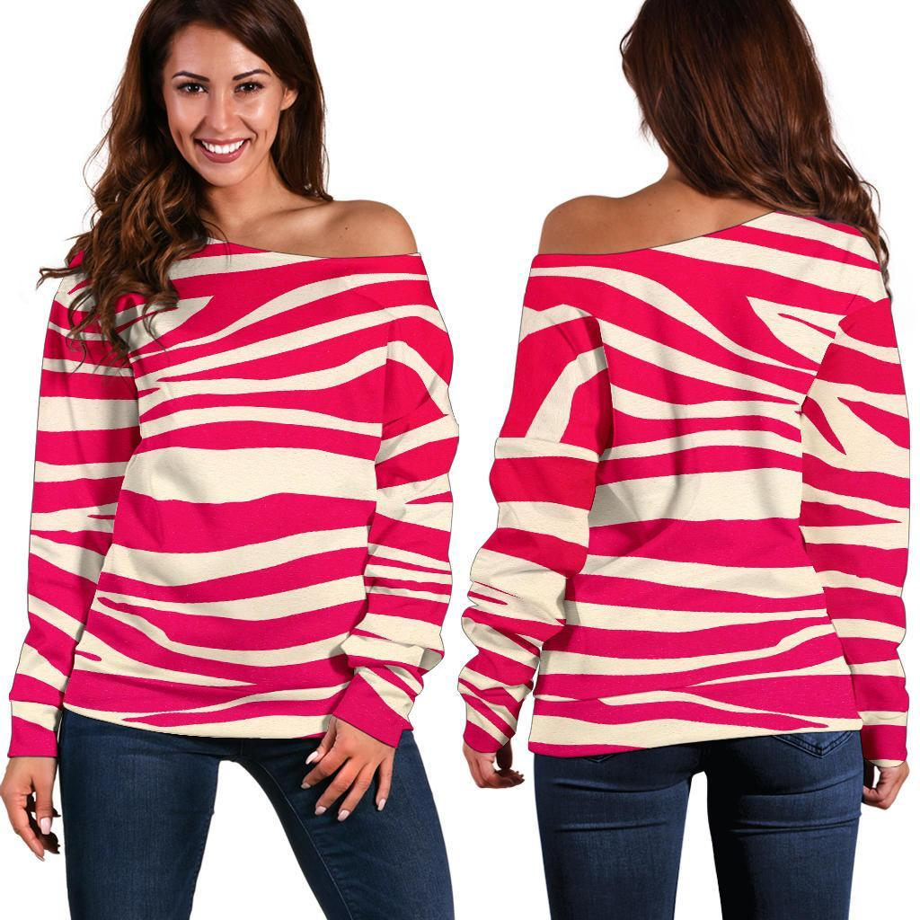 Hot Pink Zebra Pattern Print Off Shoulder Sweatshirt GearFrost