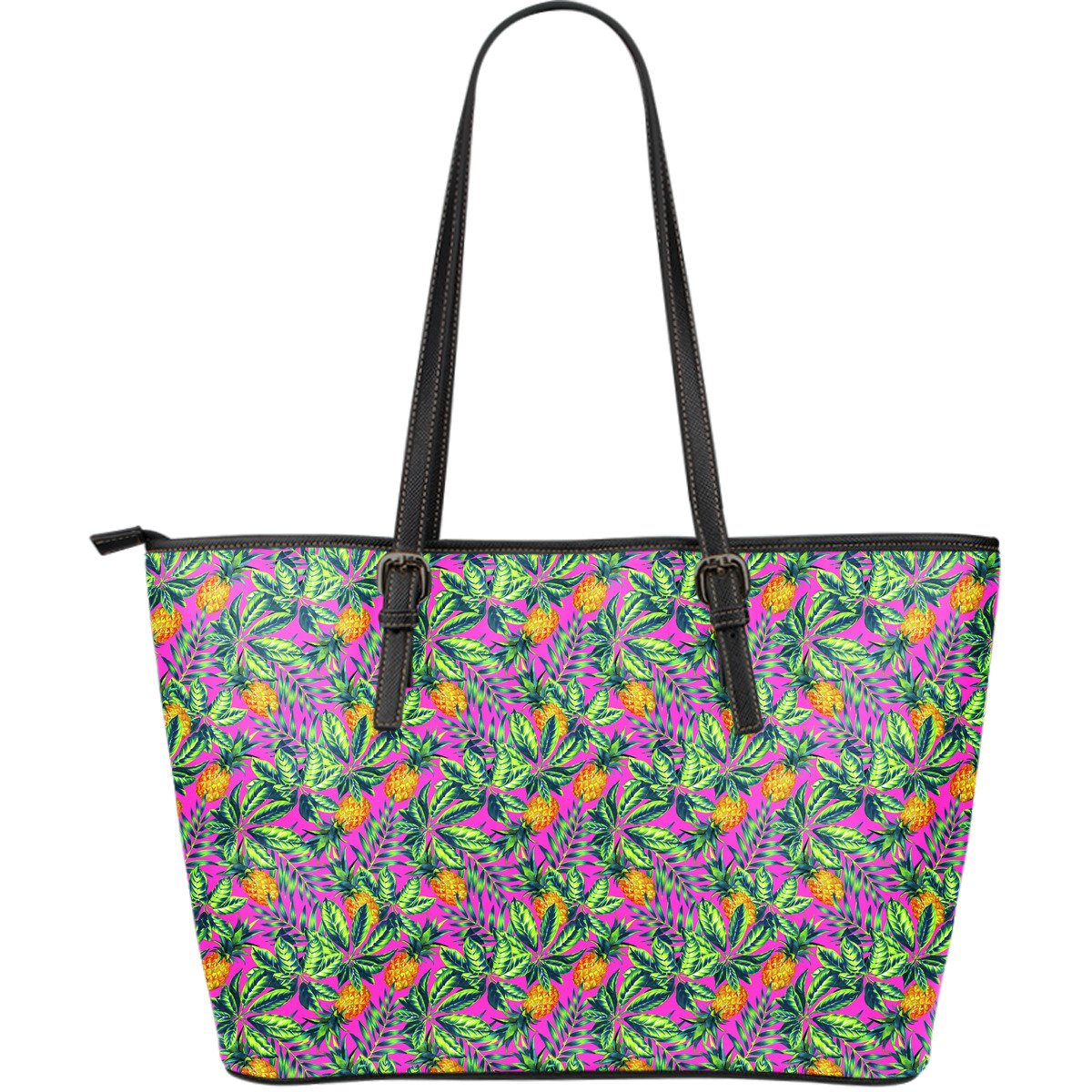 Hot Purple Pineapple Pattern Print Leather Tote Bag GearFrost