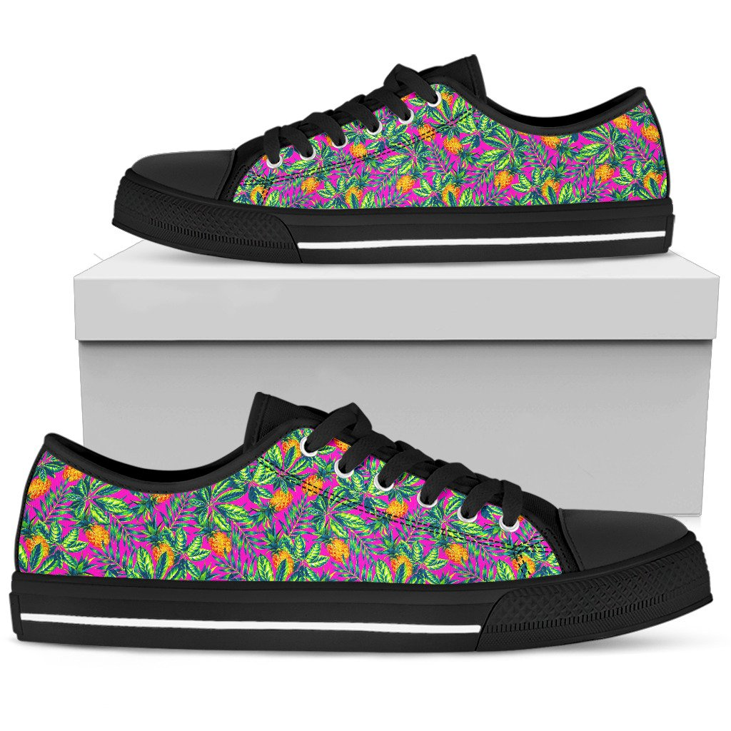 28ce00661 Hot Purple Pineapple Pattern Print Women s Low Top Shoes. Product image 1  ...