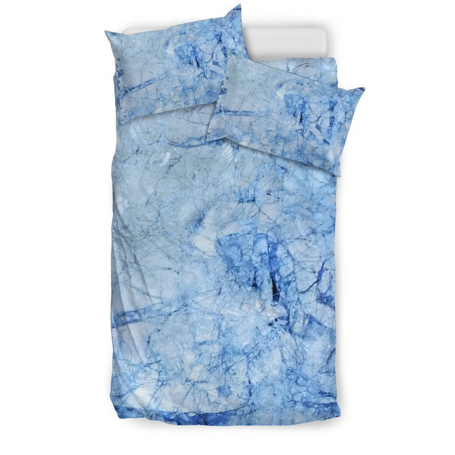 Ice Blue Marble Print Duvet Cover Bedding Set GearFrost