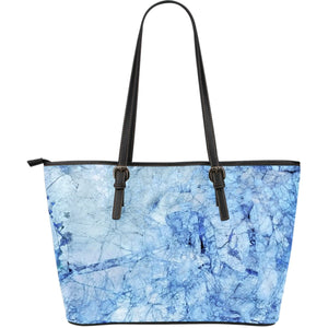 Ice Blue Marble Print Leather Tote Bag GearFrost