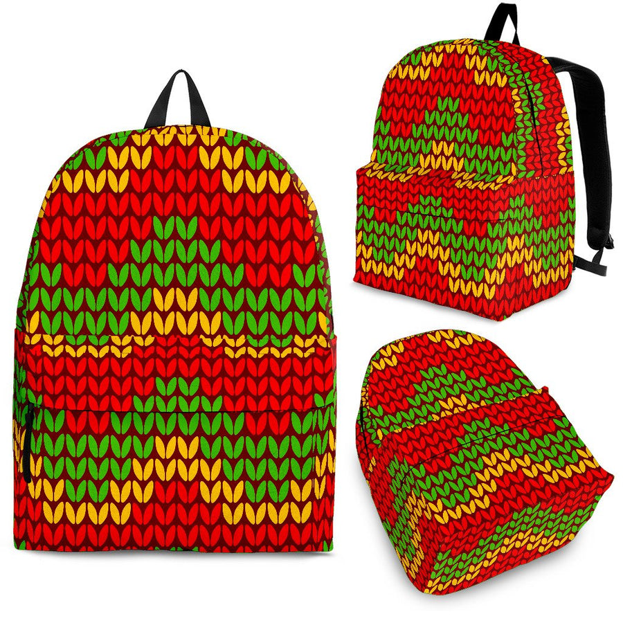 Knitted Reggae Pattern Print Backpack GearFrost