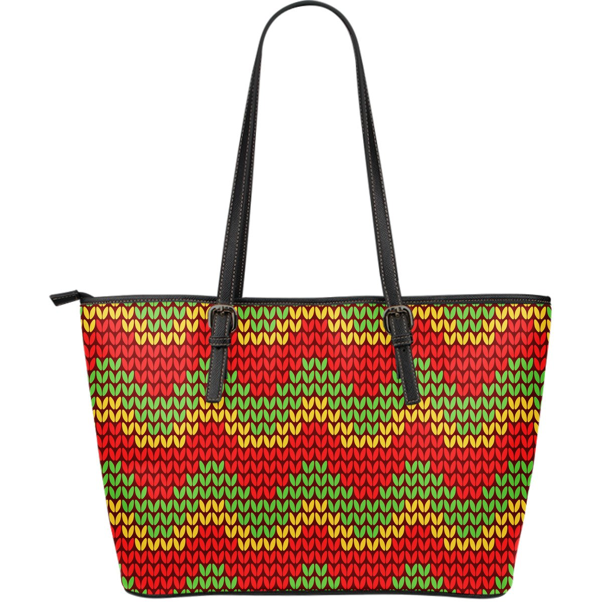 Knitted Reggae Pattern Print Leather Tote Bag GearFrost
