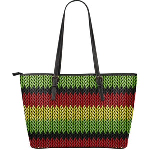 Knitted Style Reggae Pattern Print Leather Tote Bag GearFrost
