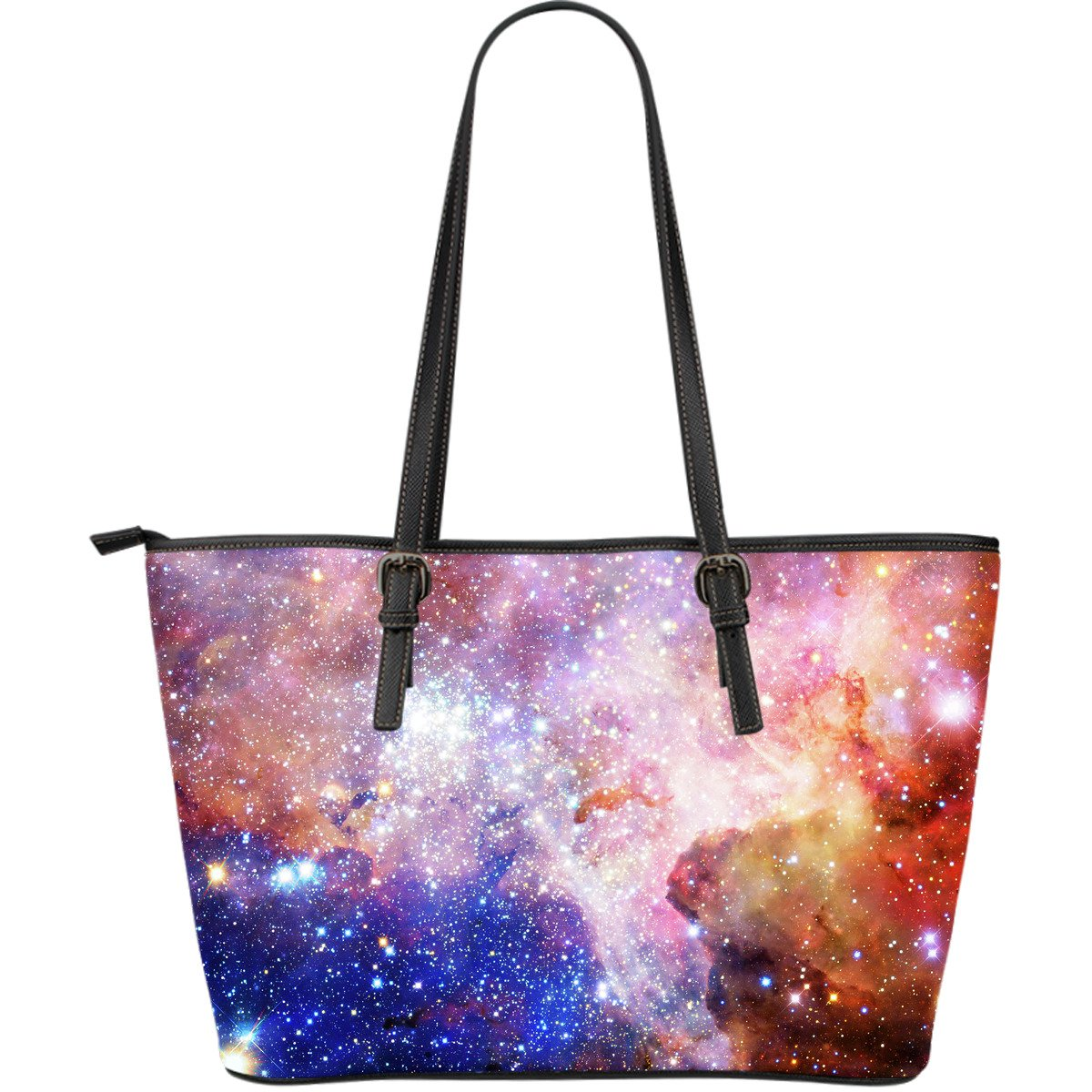 Light Stardust Galaxy Deep Space Print Leather Tote Bag GearFrost