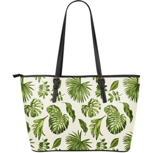 Light Tropical Leaf Pattern Print Leather Tote Bag GearFrost