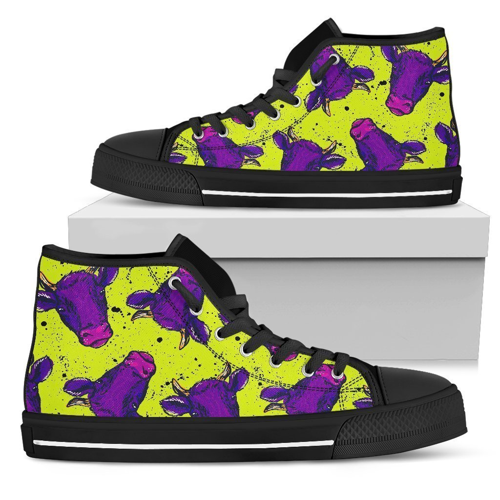Lime Green And Purple Cow Pattern Print Men's High Top Shoes GearFrost