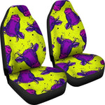 Lime Green And Purple Cow Pattern Print Universal Fit Car Seat Covers GearFrost