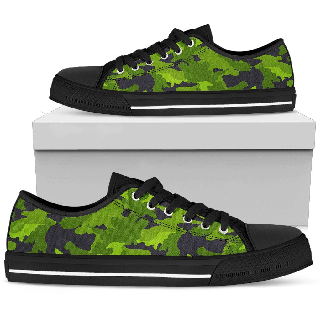 Lime Green Camouflage Print Men's Low Top Shoes GearFrost
