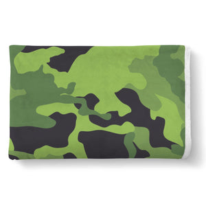 Lime Green Camouflage Print Sherpa Blanket GearFrost