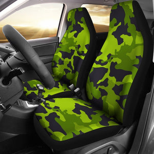 Lime Green Camouflage Print Universal Fit Car Seat Covers GearFrost