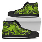 Lime Green Camouflage Print Women's High Top Shoes GearFrost