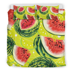 Lime Green Watermelon Pattern Print Duvet Cover Bedding Set GearFrost