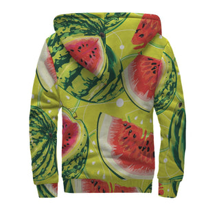 Lime Green Watermelon Pattern Print Sherpa Lined Fleece Hoodie GearFrost