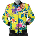 Lime Hawaiian Pineapple Pattern Print Men's Bomber Jacket GearFrost