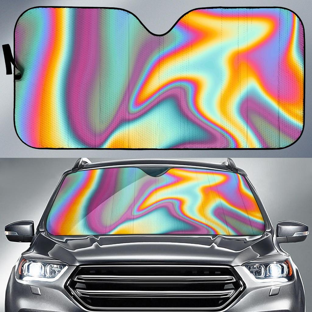 Liquid Holographic Trippy Print Car Sun Shade GearFrost