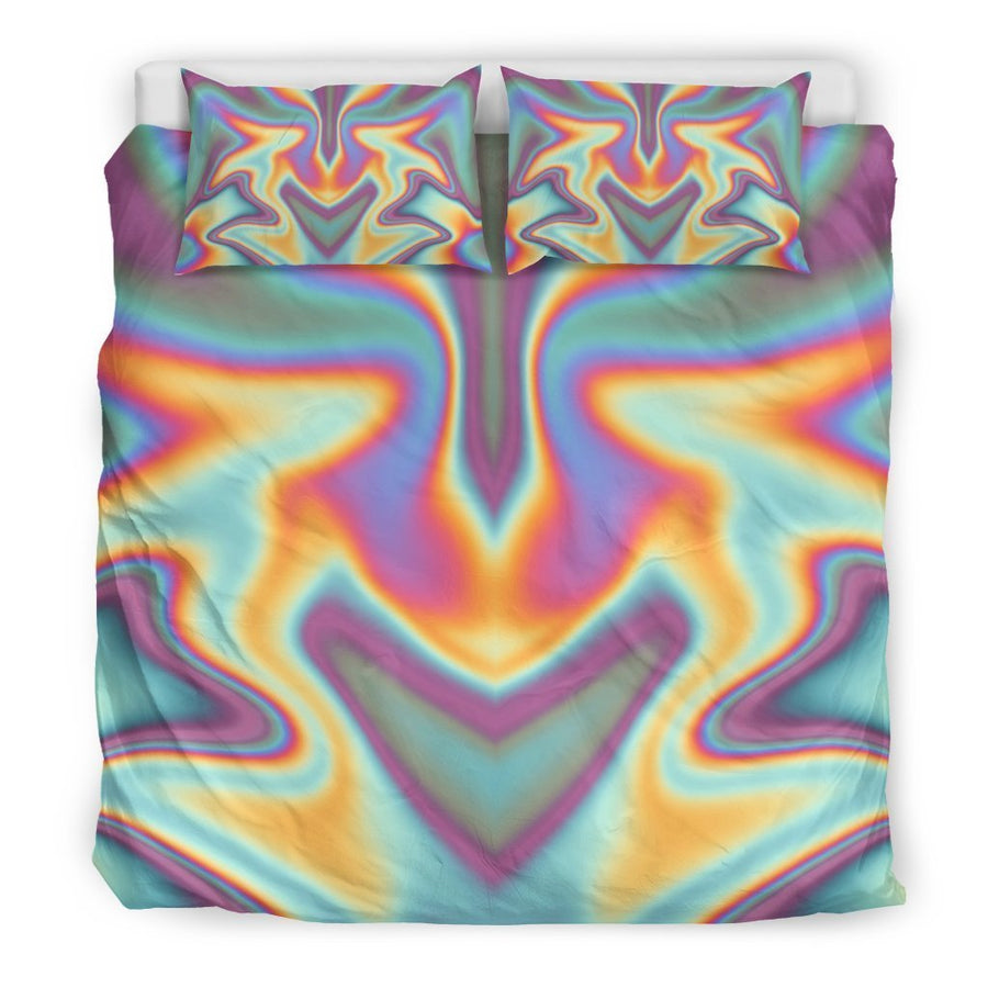 Liquid Holographic Trippy Print Duvet Cover Bedding Set GearFrost