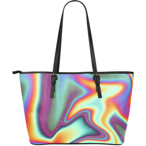 Liquid Holographic Trippy Print Leather Tote Bag GearFrost