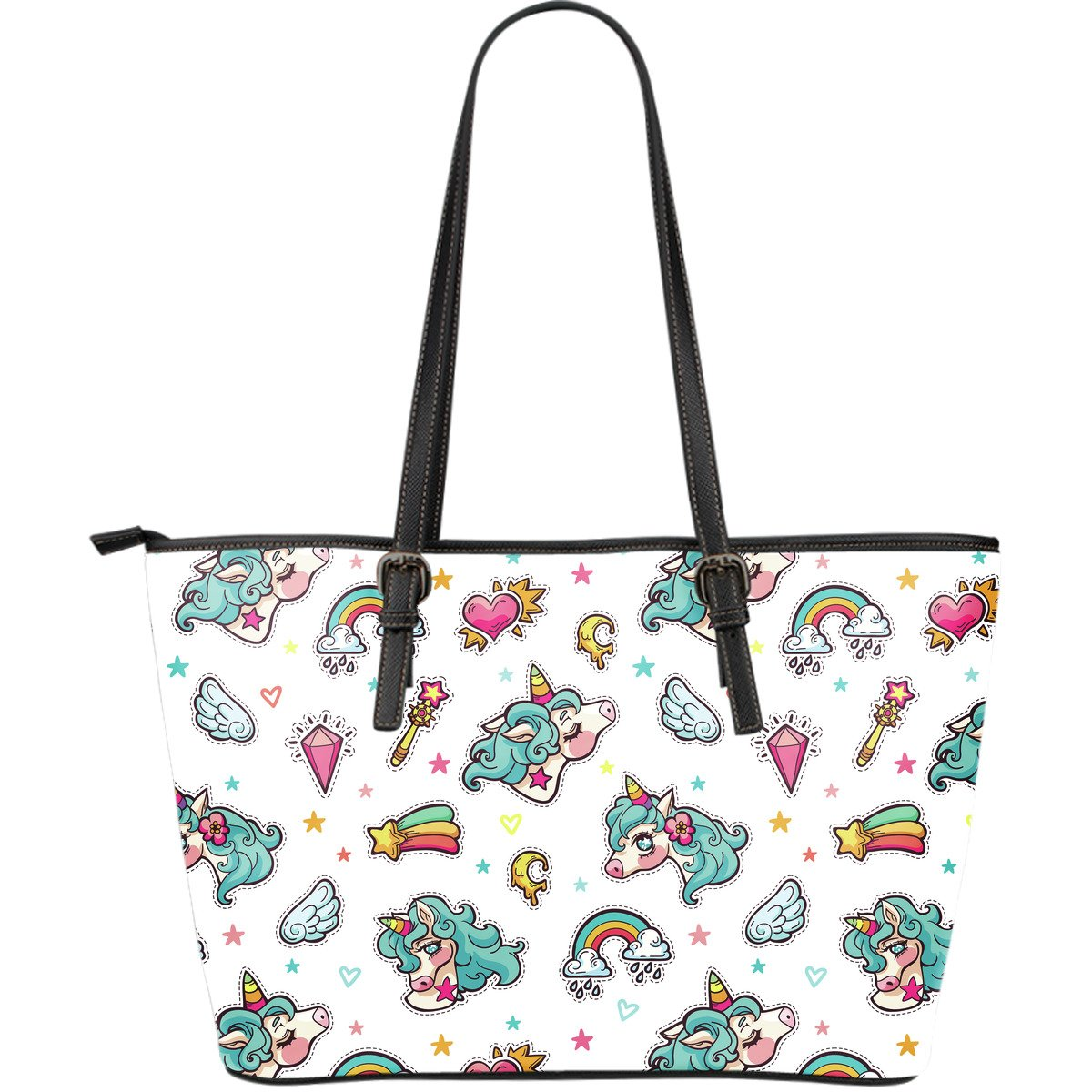 Little Girly Unicorn Pattern Print Leather Tote Bag GearFrost