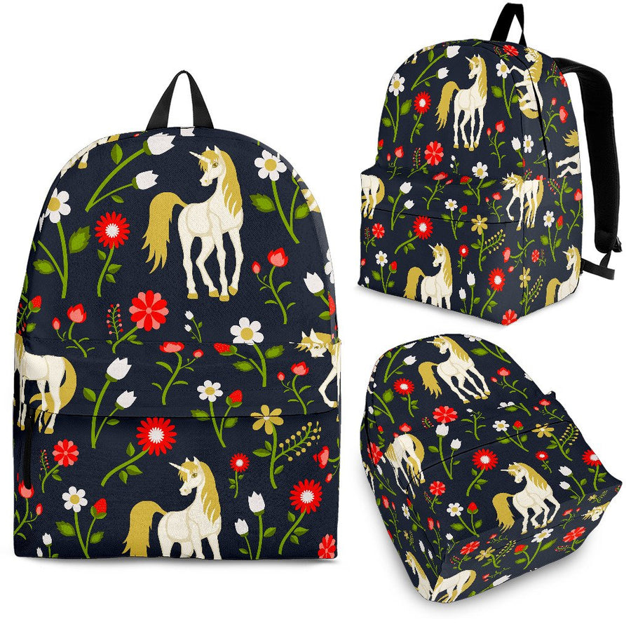Magic Floral Unicorn Pattern Print Backpack GearFrost
