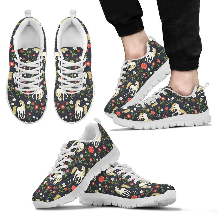 Magic Floral Unicorn Pattern Print Men's Sneakers GearFrost