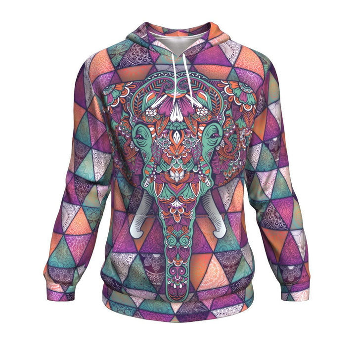 Mandala Elephant Colorful Pattern Print Unisex Pullover Hoodie GearFrost