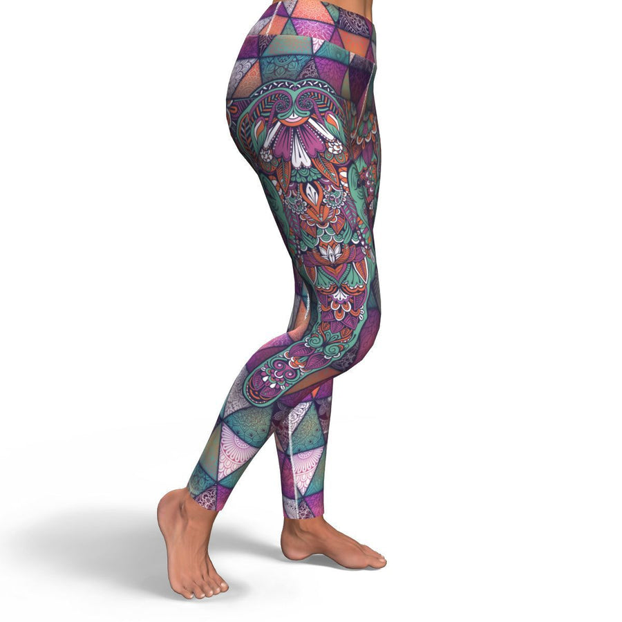 Mandala Elephant Colorful Pattern Print Women's Yoga Pants GearFrost