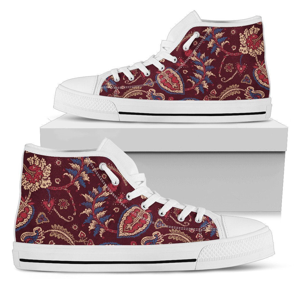 Maroon Vintage Bohemian Floral Print Men's High Top Shoes GearFrost