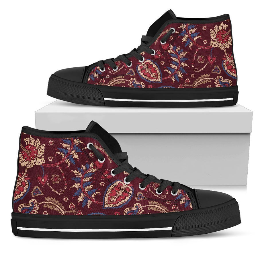 Maroon Vintage Bohemian Floral Print Women's High Top Shoes GearFrost