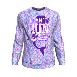 Mermaid Scales I Can't Run I'm A Mermaid Unisex Crewneck Sweatshirt GearFrost