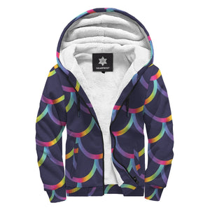 Mermaid Scales Pattern Print Sherpa Lined Fleece Hoodie GearFrost