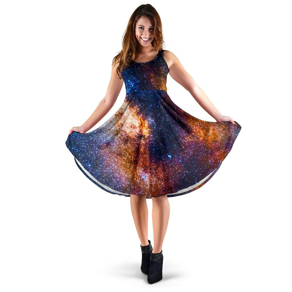 Milky Way Universe Galaxy Space Print Women's Dress GearFrost