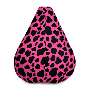 Black And Hot Pink Cow Print Bean Bag Chair